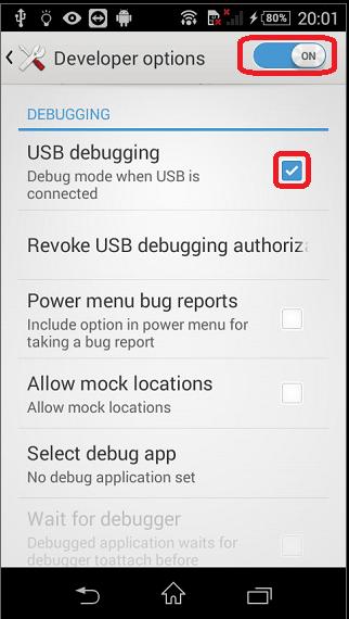 Activando depuración USB.