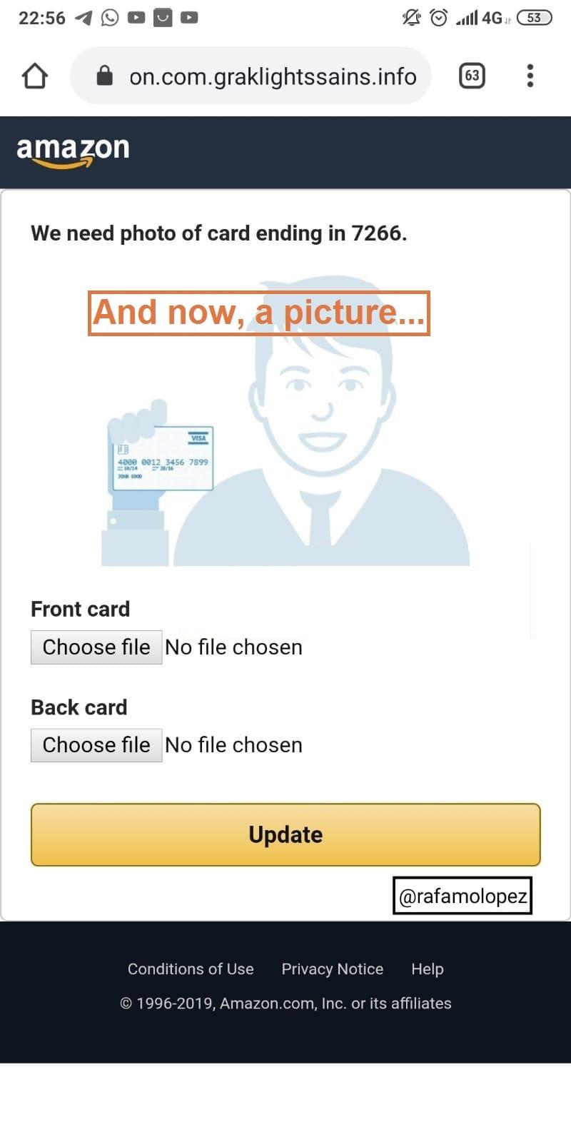 Pidiendo foto tarjeta.